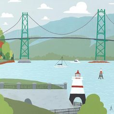 Lions Gate Bridge - Vancouver Landmark art print, home decor  Vancouver landmark art print with a unique Mid-Century / Folk Art take. A perfect Vancouver gift idea for any city lover or that poor soul that is leaving town. Purchase on www.snowalligator.com  Illustration by artist Jason Blower  #yvr #yvrart #yvrwallart #wallart #Vancouverart #Vancouvergift #yvrgift #snow_alligator #charmingart #cuteart #midCentury #Folkart #cuteart #charmingart #yvrlove