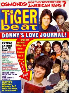 Donny Osmond on the cover of Tiger Beat