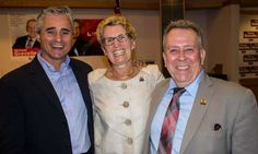 Local Liberal MPPs Bill Mauro (left) and MInister Michael Gravelle share a smile with Premier Kathleen Wynne