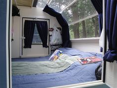 DIY Teardrop Trailer. Good blog with some unique ideas. Like the windows shown here, and the idea of an inside bunk for child. >j<