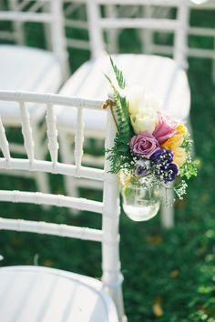 Floral mason jar wedding decor // Jun Wei and Sharon's Intimate Wedding at Suffolk House, Penang