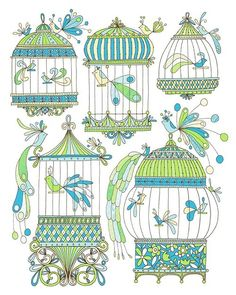Blue Bird Cages