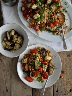 Roasted chickpea salad with barley, roasted eggplant and tomato