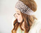 Cheetah leopard head wrap - brown and cream - wide stretch headband with knot
