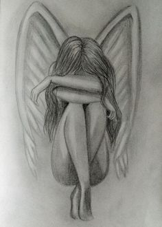 O kanatlar her zaman var yeterki güven. Those wings always have enough confidence . Pencil Drawings Tumblr, Art Drawings Sketches Simple, Sad Drawings, Girl Drawing Sketches, Dark Art Drawings, Sad Girl Drawing, Angel Drawing, Art Sketchbook, Pencil Portrait
