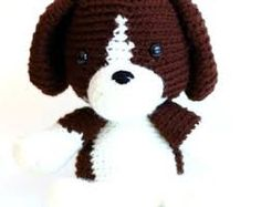 Image result for crochet brown and white dog