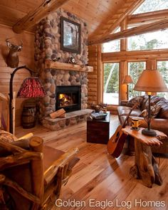 Golden Eagle Log Homes — Beautiful fireplace and wood floor in our Modified. (How To Get Him To Propose Life) Log Cabin Living, Log Cabin Homes, Log Cabins, Log Cabin Kitchens, Log Home Interiors, Log Home Decorating, Home Fireplace, Rustic Fireplaces, Timber House