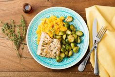 Maple-Balsamic Glazed Cod with Butternut Mash & Roasted Brussels Sprouts