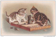 CPA CHAT CHATS  JEU   une  partie de BACKGAMMON  JACQUET timbré 1910