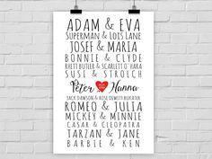 Kunstdruck TRAUMPAARE Style 2 // Hochzeit Namen von Prints Eisenherz auf DaWanda.com