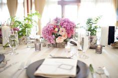 West Coast Chic wedding decor: birch bark, driftwood, ferns, romantic pink florals