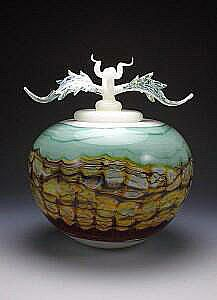 GlassMasters Danielle Gartner and Stephen Blade's Sargasso Covered Sphere with Avian Finial from their Sargasso Series. Inspired by their fascination with geological formations. Available in small and large size. Artist signed and dated.