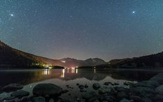 A starry night over June Lake in the Eastern Sierras of California.