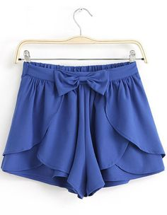 Royal Blue Bow Cascading Ruffle Chiffon Skirt Shorts EUR€19.39