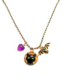 Gold & Purple Whiskers & Bat Pendant Necklace by Schmutzerland #zulily #zulilyfinds