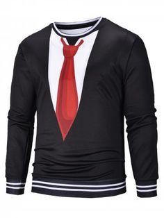 6e728f4b064 3D Tie Suit Print Pullover Long Sleeve Sweatshirt - BLACK - M