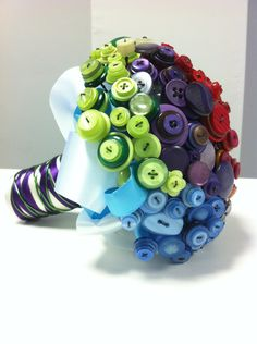 Amazing OOAK 'Above the bright Rainbow' Button Wedding Bouquet for Bride with 6 x button holes.. £100.00, via Etsy.