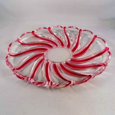 Christmas Candy Dish, Candy Cane Swirl Glass Dish, Xmas Serving Dish, Christmas Decor, Christmas Tableware, Red and White Glass Platter