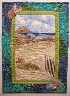 "landscape quilt begunby Sally Gould Wright in Karen Eckmeier's class ""Accidental Landscapes"" at International Quilt Festival/ Long Beach in July Patchwork Quilting, Applique Quilts, Ocean Quilt, Beach Quilt, Quilting Projects, Quilting Designs, Landscape Art Quilts, International Quilt Festival, Fabric Postcards"