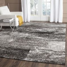 Safavieh Adirondack Modern Abstract Silver/ Black Rug (6' Square) | Overstock.com Shopping - The Best Deals on Round/Oval/Square
