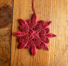 Quilled red snowflake