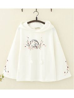 Cute Rabbit Floral Embroidery Hoodie✨🐰✨ This is a super kawaii pastel pink bunny hoodie😊 If you like, you can click … Set Fashion, Teen Fashion Outfits, Cool Outfits, Girl Fashion, Casual Outfits, Fashion Dresses, Kawaii Clothes, Shirt Embroidery, Floral Embroidery