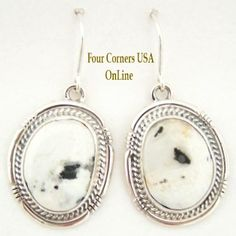 Four Corners USA Online - White Buffalo Turquoise Sterling Silver Earrings by Sampson Jake Native American Silver Jewelry, $142.00 (http://stores.fourcornersusaonline.com/white-buffalo-turquoise-sterling-silver-earrings-by-sampson-jake-native-american-silver-jewelry/)