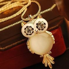 Sparkling Crystal Owl Pendant Necklaces