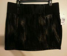Charlotte Russe black & glitz sparkly pattern stretch mini skirt w zipper XL NWT #CharlotteRusse #Mini