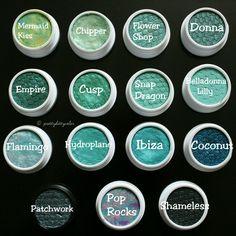 ColourPop blue-green Super Shock Shadows- Mermaid Kiss, Chipper, Flower Shop, Donna, Empire, Cusp, Snap Dragon, Belladonna Lilly, Flamingo, Hydroplane, Ibiza, Coconut, Patchwork, Pop Rocks, Shameless.