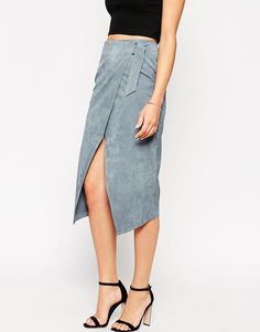 Image 4 ofASOS Wrap Pencil Skirt in Suede with D-Ring