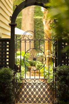Gate, Charleston, SC© Doug Hickok All Rights Reserved .rhGarden Gate, Charleston, SC© Doug Hickok All Rights Reserved . Wrought Iron Garden Gates, Garden Gates And Fencing, Metal Gates, Fence Gate, Wire Fence, Garden Entrance, Garden Doors, Lattice Fence, The Secret Garden