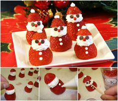 These jolly little strawberry Santas are the perfect bite for fruit lovers. They are sure to bring a smile. The post The Perfect DIY Adorable Strawberry Santas appeared first on The Perfect DIY. Christmas Snacks, Xmas Food, Christmas Goodies, Holiday Treats, Christmas Fun, Grinch Kabobs, Strawberry Santas, Happy Feast, Edible Crafts