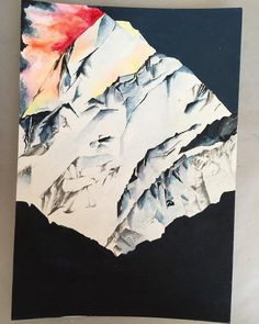 #mountainscape #art #painting #mixedmedia #nature #mountains #snowymountains #peacefulness