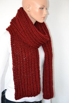 Red Winter Gentlemen's Scarf/ Knitted Red Scarf/ by Africancrab