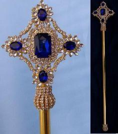 Imperial Rhinestone Gold Blue Sapphire Scepter