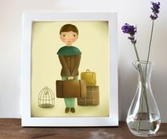 Print meisje met koffers 20 x 25 cm