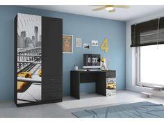 Pour Quentin - Armoire 2 portes MISY coloris noir - Vente de Armoire - Conforama