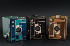 Kodak's No.2 Beau Brownie is a box camera for 120 film. The camera was designed by Walter Dorwin Teague.