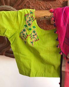 15 Inspiring Minimal Work Blouse to try - Wedandbeyond Stylish Blouse Design, Simple Blouse Designs, Blouse Neck Designs, Simple Embroidery Designs, Creative Embroidery, Embroidery Motifs, Latest Saree Blouse, Designer Blouse Patterns, Work Blouse