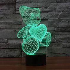 Teddy Bear with Heart Colorful 3D LED Lamp