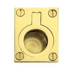 Rectangular Flush Ring Pull - 50 x 38mm - Polished Brass | Ironmongery Direct