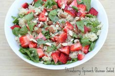 31 Days of Gluten Free Meals: Strawberry Spinach Quinoa Salad ~ festive for Memorial Day or 4th of July! | 5DollarDinners.com
