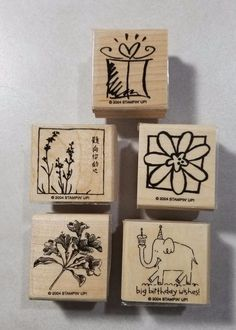 Stampin' Up! Jumbo Incentives Wood Mount Stamp Elephant Birthday Flower Oriental #StampinUp #Background