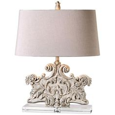 Uttermost Schiavoni Distressed Ivory Stone Table Lamp