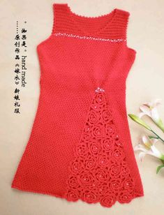 crochet charming red dress for girls - crafts ideas - crafts for kids