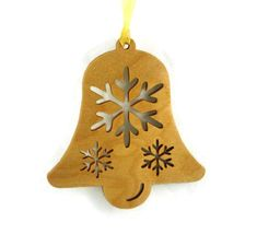 Make your Christmas tree unique with handmade wood Christmas tree ornaments. This Bell shaped Christmas tree Ornament features a large snowflake and two smaller snowflakes cut out. This ornament meas Wood Christmas Tree, Christmas Bells, Christmas Countdown, All Things Christmas, Christmas Tree Ornaments, Christmas Crafts, Christmas 2014, Holiday, Handmade Items