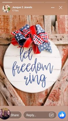 of July door hanger - Round Shiplap Sign - patriotic Door sign - Patriotic decor Patriotic Crafts, July Crafts, Holiday Crafts, Holiday Decor, Fourth Of July Decor, 4th Of July Decorations, July 4th, Wooden Door Signs, Rustic Wood Signs