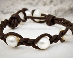 Leather pearl bracelet  pearl leather by LeatherPearlJewelry