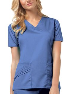 2b587f2eb57 Cherokee Luxe V-Neck Top in Ceil Blue from Cherokee Scrubs at Cherokee 4  Less
